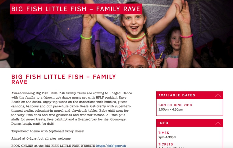 Big Fish Little Fish Family Rave, Rheged Centre, June 2018