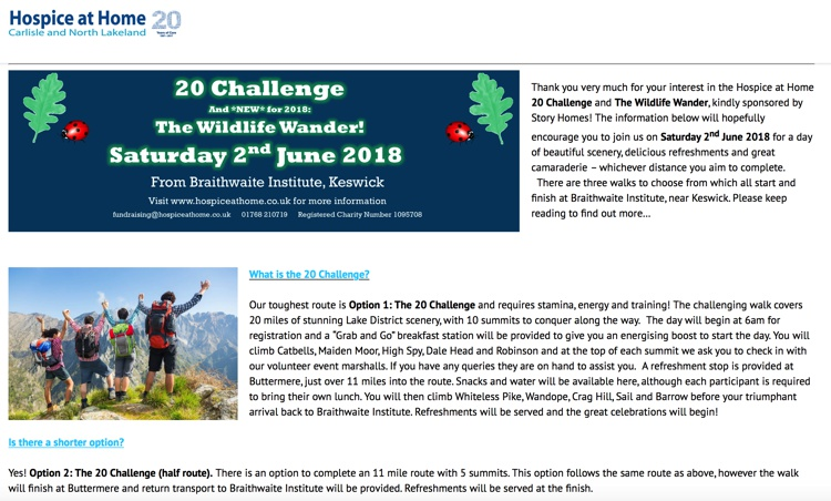 Hospice at Home: The 20 Challenge, Borrowdale & Buttermere, June 2018