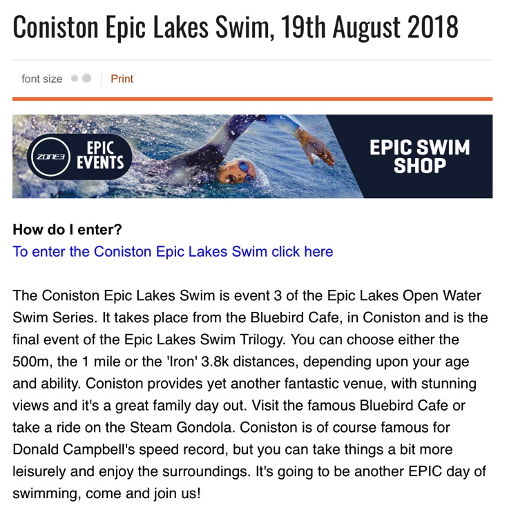 Coniston Swims August 2018