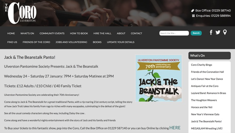 Jack and the Beanstalk Pantomine, Coronation Hall, Ulverston