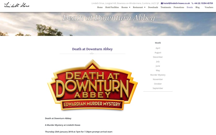 Death at Downturn Abbey – A Murder Mystery Dinner at Lindeth Howe, Bowness-On-Windermere