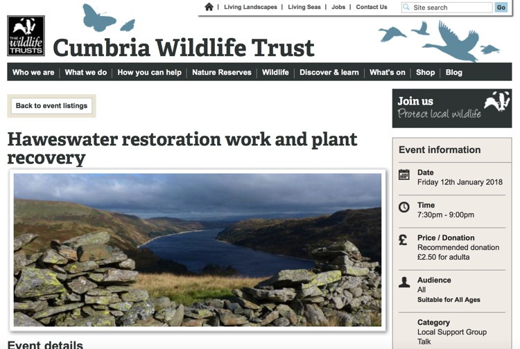 Talk on Haweswater Restoration Work & Plant Recovery