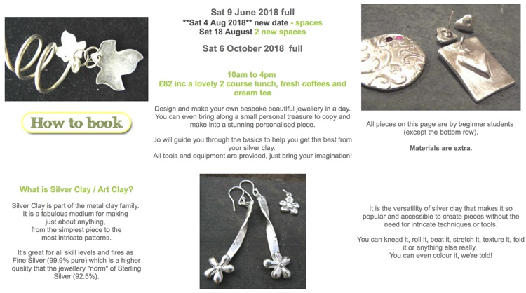 Introduction To Silver Clay Jewellery, Greystoke Cycle Café, Penrith