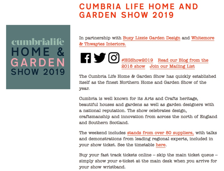 March 2019 Cumbria Life Home & Gardens Show