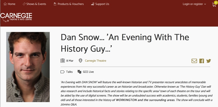March 2019 Dan Snow at Carnegie Theatre