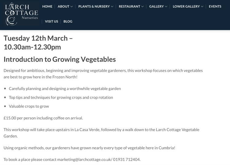 March 2019 Growing Vegetables at Larch Cottage Nurseries