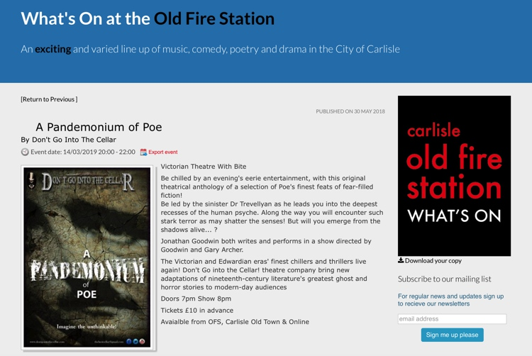 March 2019 A Pandemonium of Poe at the Old Fire Station