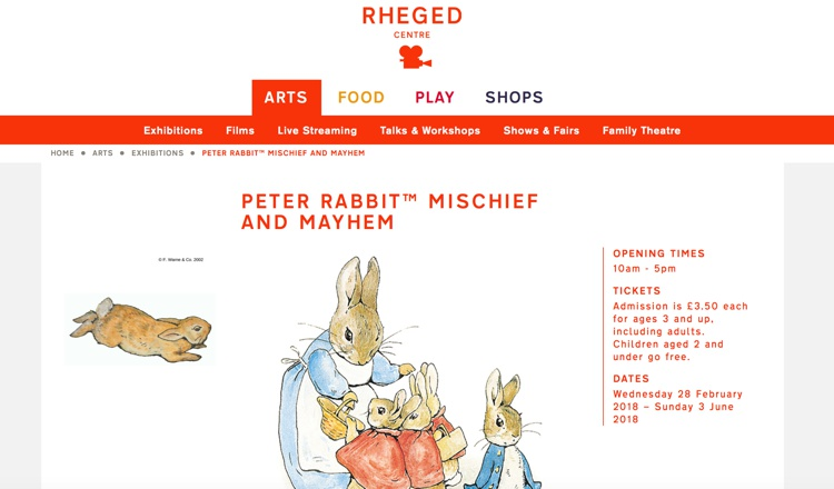 Peter Rabbit at the Rheged Centre March 2018