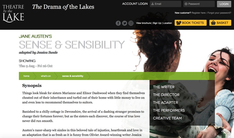 Sense & Sensibility August 2018 at the Theatre by the Lake