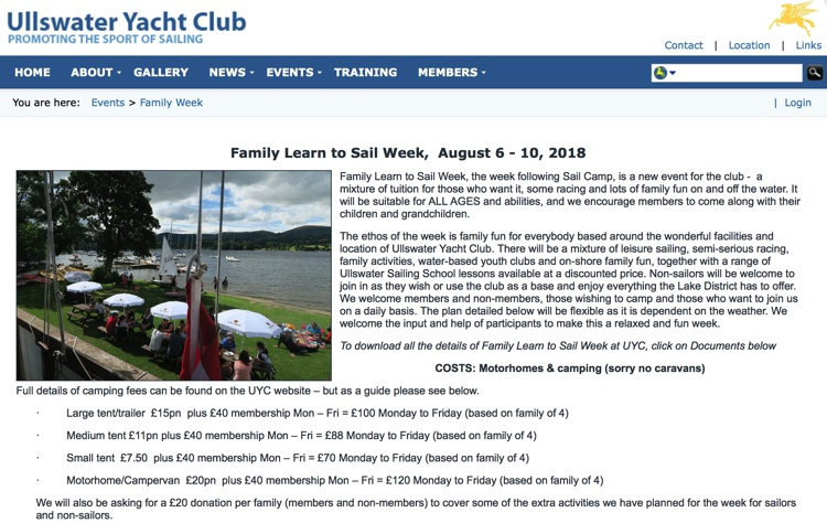 amily Learn To Sail Week, Ullswater Yacht Club, August 2018