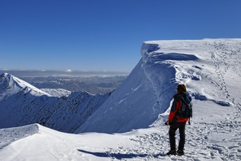 Snowy summit of Helvellyn