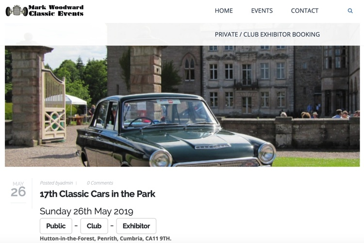 Classic Cars in the Park May 2019