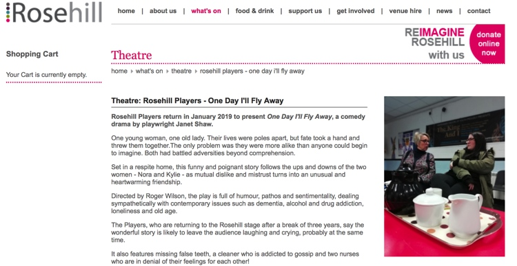 One Day I'll Fly Away at Rosehill Theatre January 2019