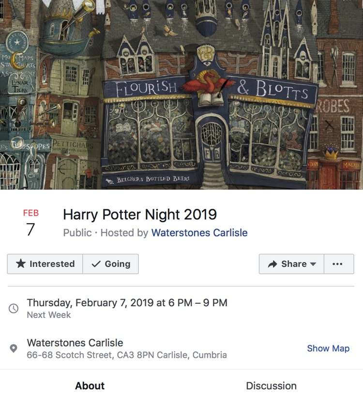 Harry Potter Night at the Waterstones in Carlisle, February 2019