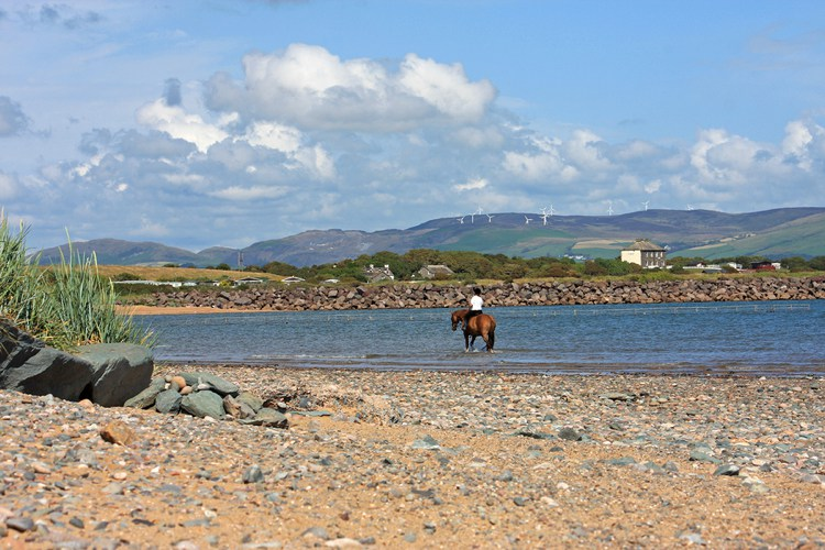 Horse riding on the beach at Haverigg