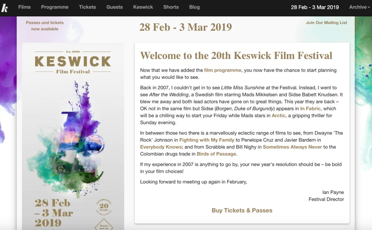 Keswick Film Festival at the Theatre by the Lake, February 2019