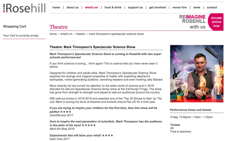 March 2019 Mark Thompson's Spectacular Science Show at the Rosehill Theatre