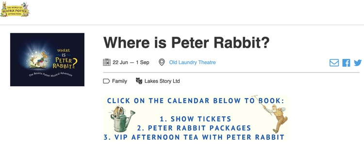 Where Is Peter Rabbit? The Old Laundry Theatre June 2019