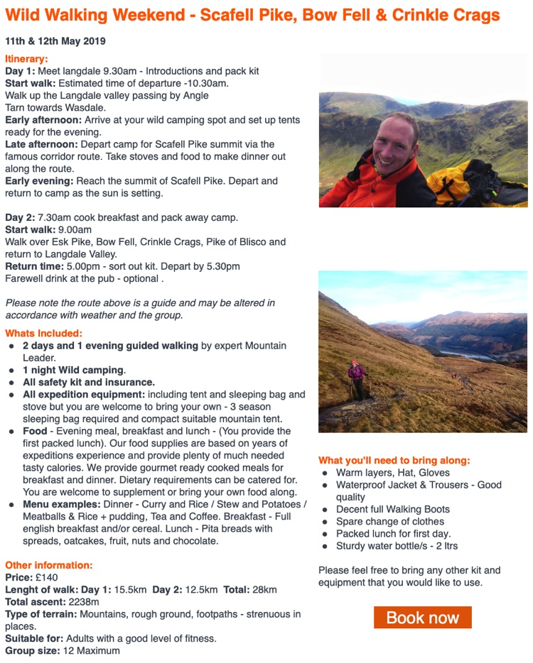 Wild Walking Weekend at Scafell Pike May 2019