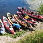 Canoes along the water